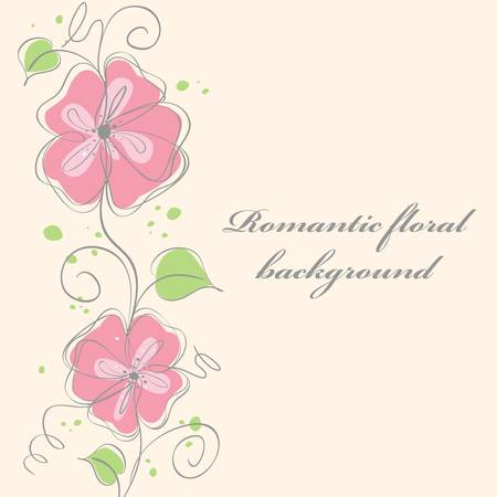 Cute pink  floral card background. vector illustration Stock Vector - 8884718