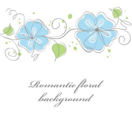 card: Cute blue floral card background. vector illustration Illustration