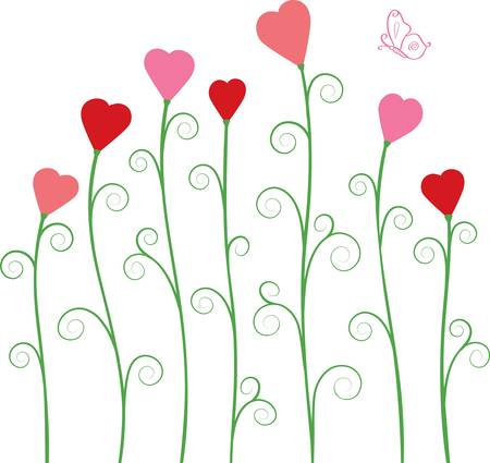 green lines: abstract vector flowers