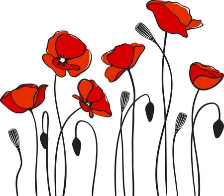 grunge leaf: red poppies