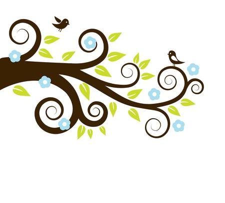 tree silhouettes: spring tree with birds Illustration