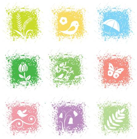 Set spring leaves icons Stock Vector - 9002346
