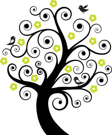 boom met vogels: abstracte boom met vogels