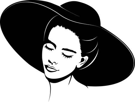 girl in hat Vector