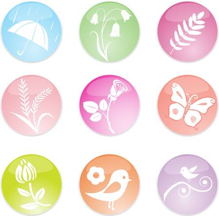 Set spring leaves icons. Vector illustration Stock Vector - 9093108