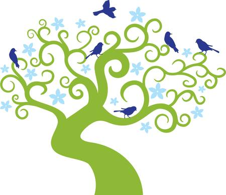 abstract tree with birds.Vector illustration Stock Vector - 9093119