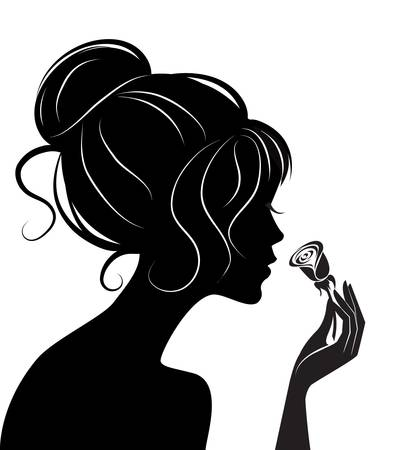 rose: beauty girl silhouette with rose. Vector illustration