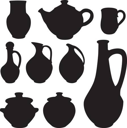 antique silhouette set ware.  Stock Vector - 9295311
