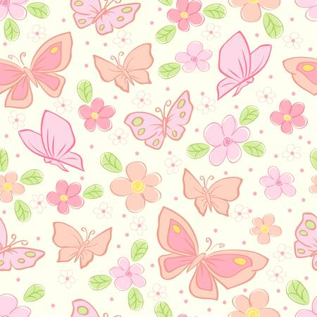 petal: seamless background with butterfly colorful illustration