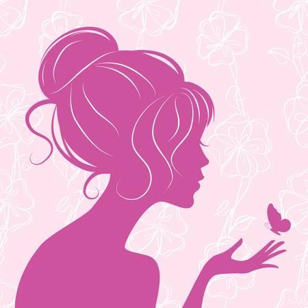 silhouette papillon: silhouette de jeune fille de beauté avec butterfly  Illustration