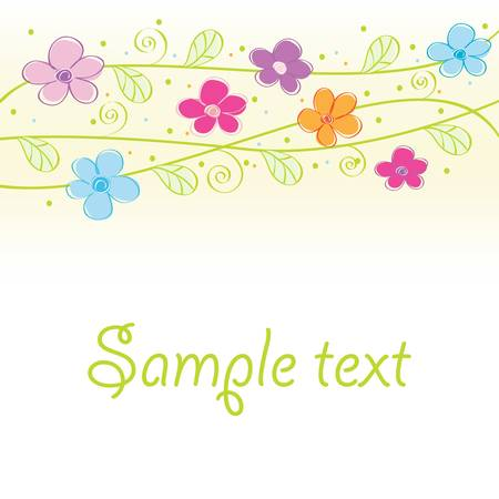 Abstract cute floral card. Stock Vector - 9295324