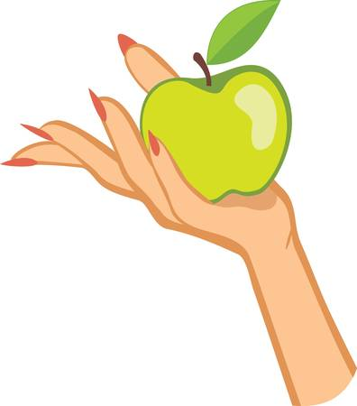 womans hand holding apple .colorful vector illustration