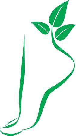 ногами: Abstract foot symbol. Vector element for design