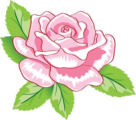 rose tattoo: beauty pink rose background. Colorful vector illustration