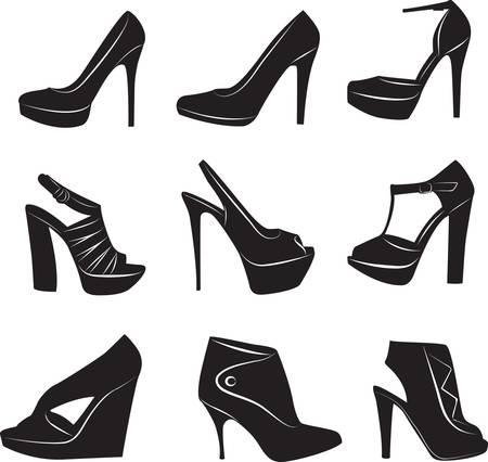 foot gear: Abstract beauty womans shoes collection. Vector illustration