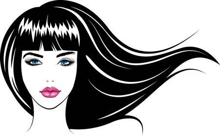 Chica de cara de belleza abstracta. Ilustración vectorial colorido