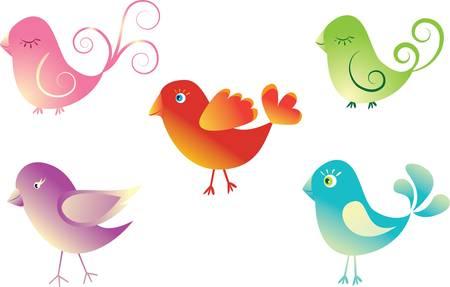 pajaro dibujo: Resumen establece aves lindas. Ilustraci�n vectorial colorido