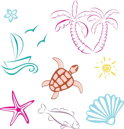 Abstract sea travel set icon. Vector illustration Vector