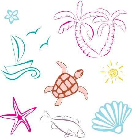 marine bird: Mar abstracta viaje conjunto icono. Ilustraci�n vectorial