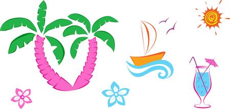 Cute set summer icons. Colorful vector illustration Vector