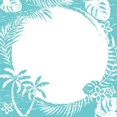 tropical border: Abstract grunge tropical border background Vector illustration Illustration