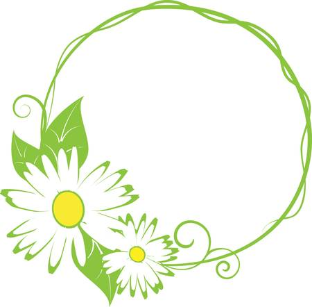 camomile: Abstract funny spring floral border. vector illustration