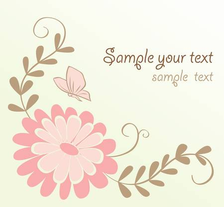 delicate: Abstract cute floral card. Colorful vector illustration