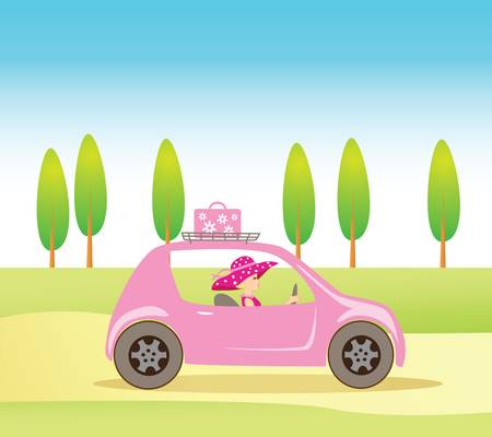 Cute vintage style girl driving a pink luxorious convertible car Vector