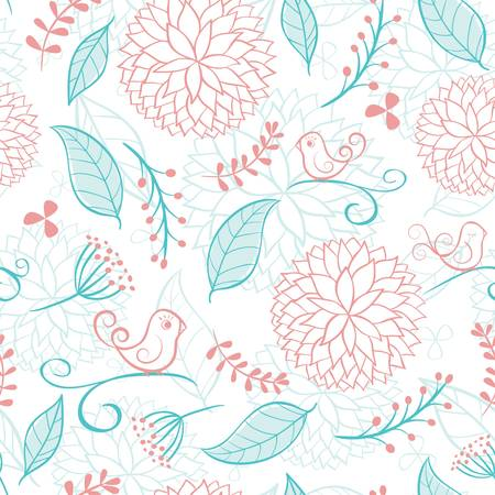 Floral summer background with birds.  Vector