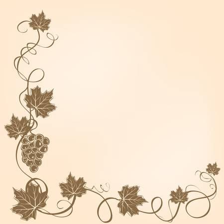 포도와 나뭇잎 코너 프레임입니다.