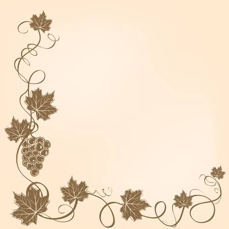 vine border: Corner frame with grapes and leaves. Illustration