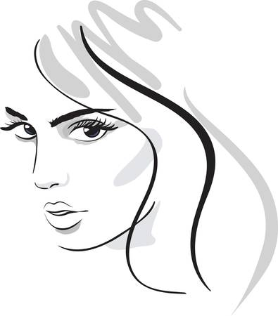 artistic woman: beauty girl face. design elements.  Illustration