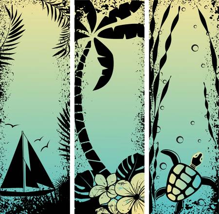 hawaii sunset: Abstract set sea grunge banners. Vector illustration