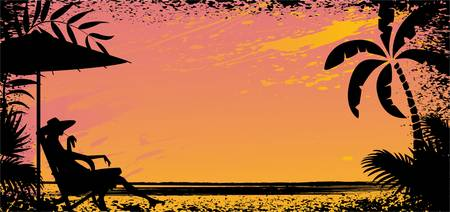 beach sunset: girl on beach. Vector silhouette banner illustration