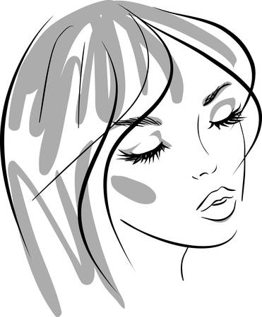 beauty girl face. design elements. Vector Illustration Stock Vector - 9517731