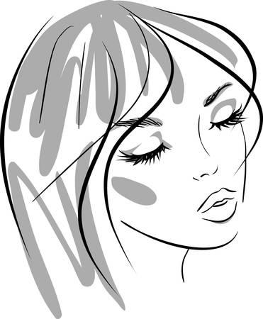 beauty girl face. design elements. Vector Illustration Stock Vector - 9517731