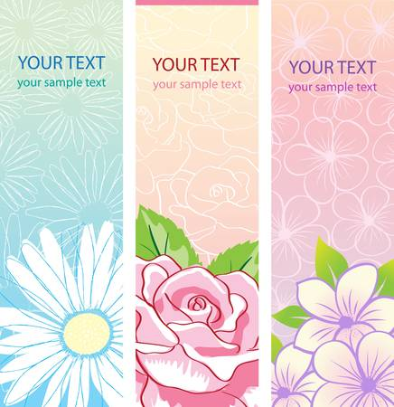 abstract flowers: beautiful vertical floral banners set. Vector illustration