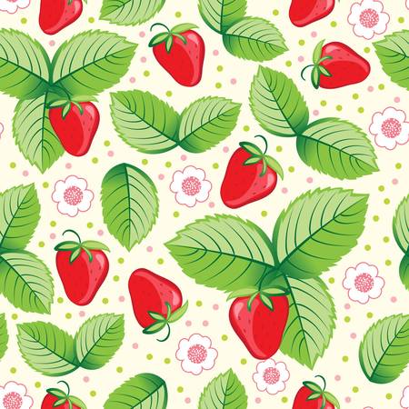 abstract fruit: Seamless sweet strawberry background. Colorful vector illustration