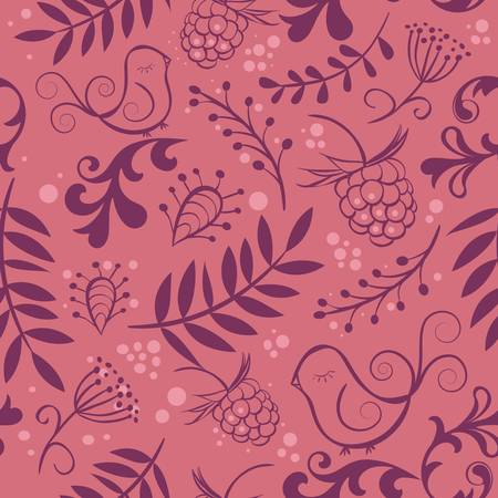 cute seamless background with bird and berry vector illustration Vector