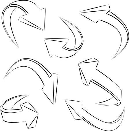 abstract 3D sketchy arrows sketchy . Vector design elements set Stock Vector - 9605796
