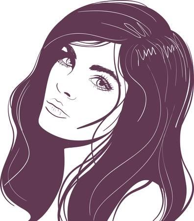 Abstract beauty face girl portrait. Vector illustration Stock Vector - 9605799