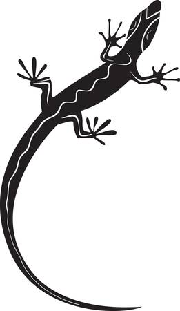 sauri: Sagoma nera lucertola decorativi. illustrazione vettoriale tatuaggio
