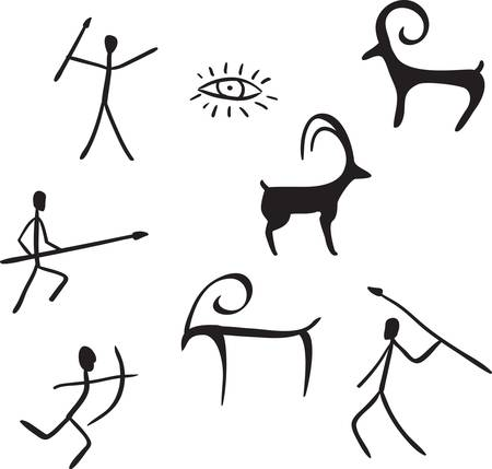prehistoric: vector primitive figures looks like cave painting vector illustration
