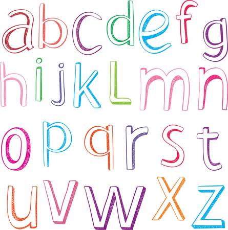hand drawn alphabet letters. Vector illustration design Vector