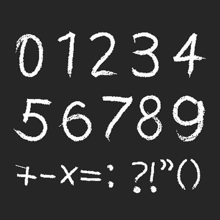 pencil or charcoal chalk alphabet numbers set. Vector Vector
