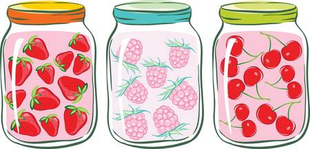 fruit jam: set banks with fruit compote. strawberry, raspberry and cherry Illustration