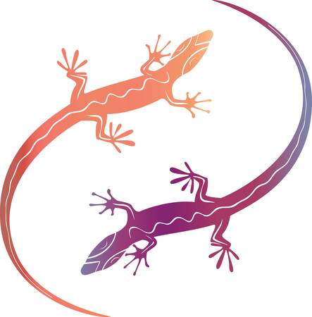 Abstract colorful decorative lizards. Abstract Vector illustration Vector