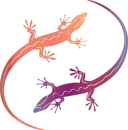l�zard: L�zards d�coratifs color�s abstraits. R�sum� illustration vectorielle