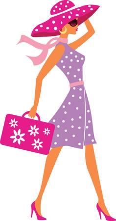 bagagli: ragazza viaggi bellezza con bagaglio Vettoriali