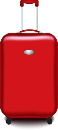 maleta: maleta roja aislada sobre fondo blanco